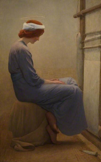 Margetson, William Henry, 1861-1940; Mary at the Loom