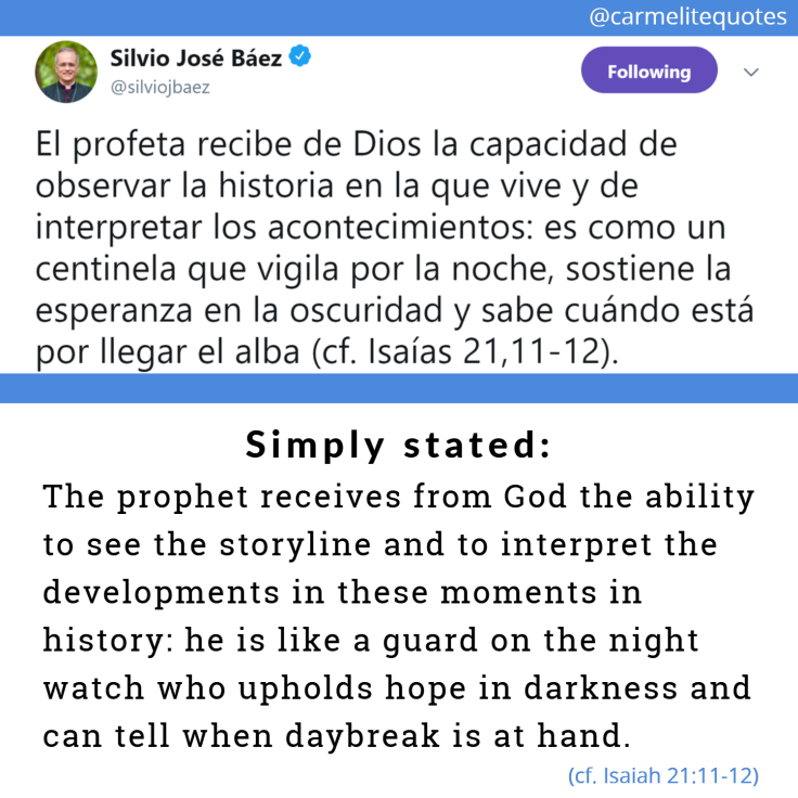 BAEZ - The prophet receives from God 4aug18