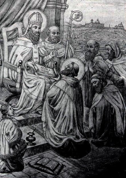 A marble engraving at the monastery of the Discalced Carmelite nuns on Mount Carmel depicts St. Albert of Jerusalem granting the Rule to the hermits | Photo: Discalced Carmelites