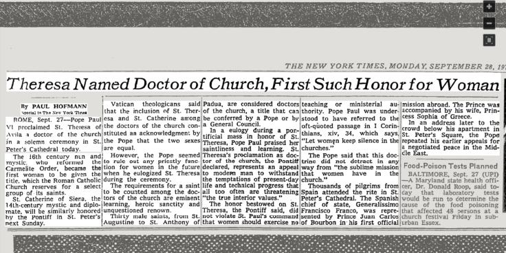 TERESA AVILA - NY Times article 28 Sep 1970