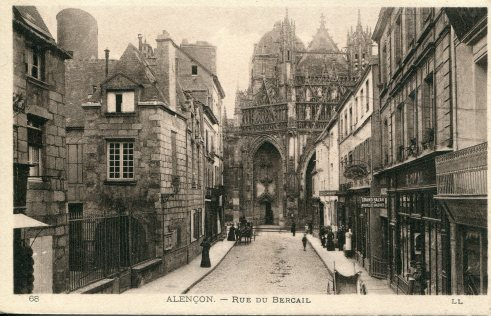 19th c. postcard, Church of Notre-Dame in background