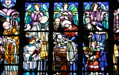 Barillet window of the Baptism of St. Thérèse (detail)