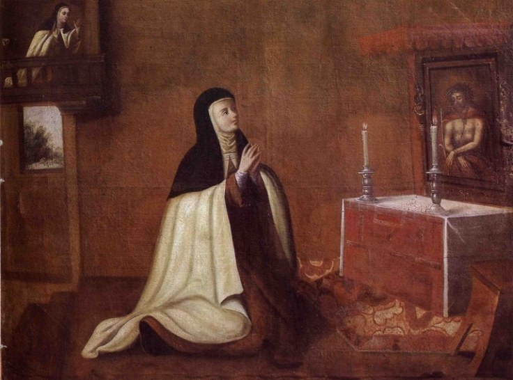 The Second Conversion of Saint Teresa Cuzco School 1694