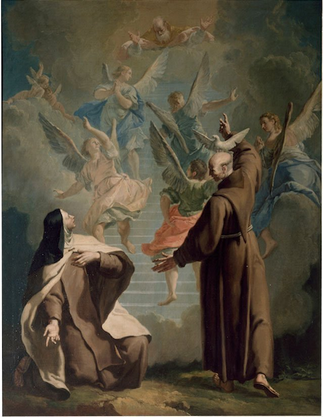 Peter of Alcantara shows Teresa d'Avila the way to paradise - Francesco Fontebasso - Cappella Giustinian dei Vescovi - San Francesco della Vigna, Venice