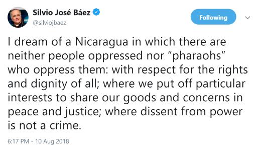 BAEZ - I dream of a Nicaragua tweet 10aug18