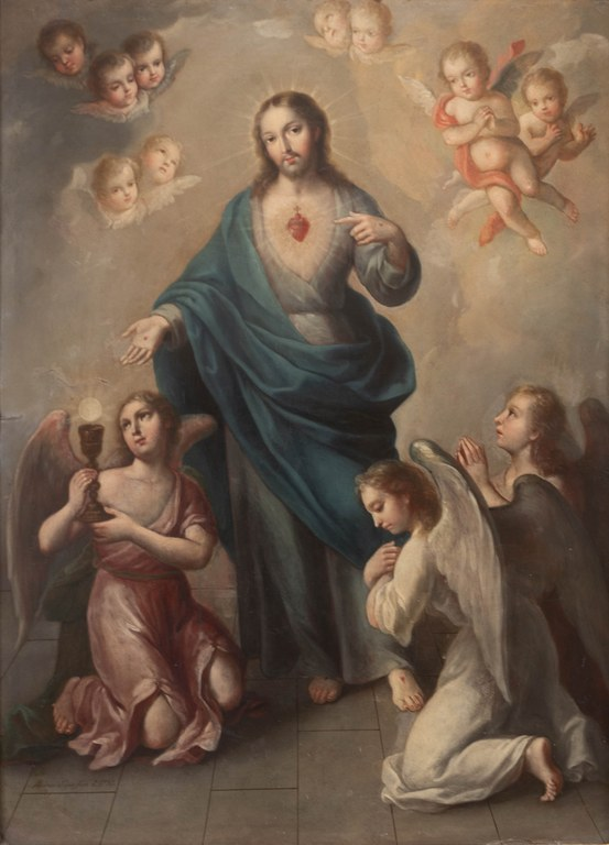 Sacred Heart adored by angels_Andrés López 1785