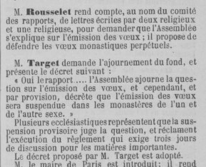 Assemblée Nationale 28 Octobre 1789 decree NO VOWS