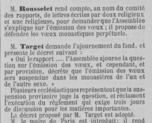 Assemblée Nationale 28 Octobre 1789 decree NO VOWS