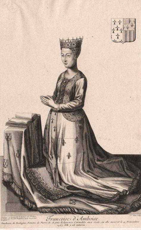 Francoise dAmboise kneeling crowned sepia