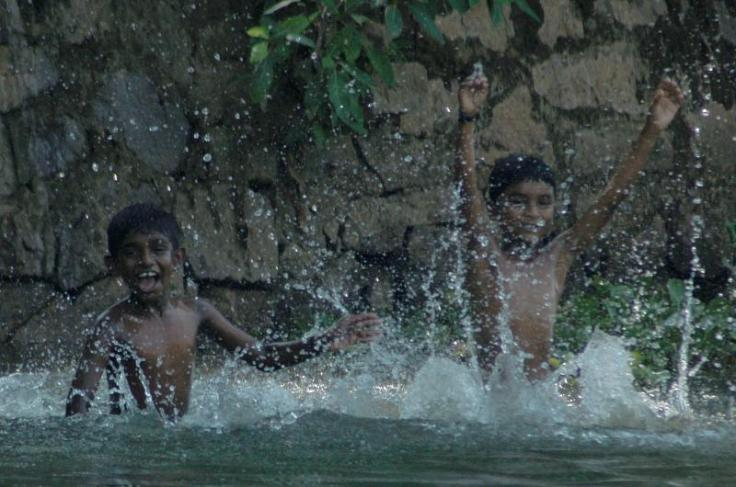 Children having fun, Backwaters at Kottayam, Kerala