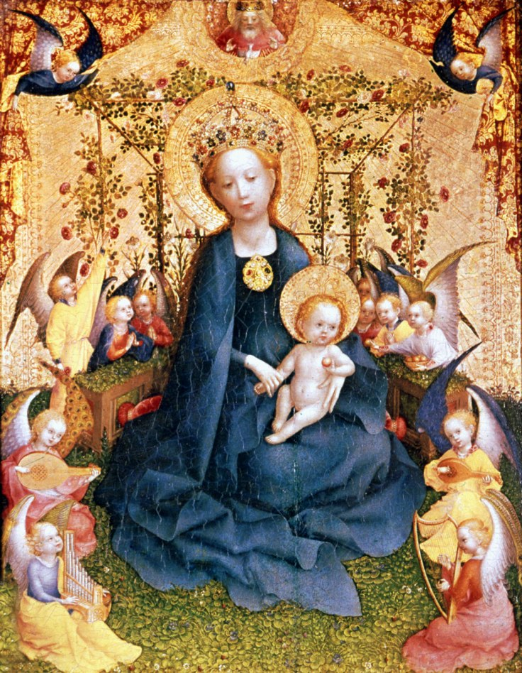 Madonna-wood-painting-Rose-Bower-Stefan-Lochner virgin mary